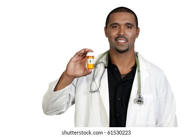 An doctor holding prescription medication in her office