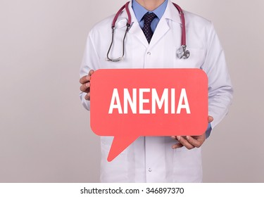 Doctor holding speech bubble with ANEMIA message