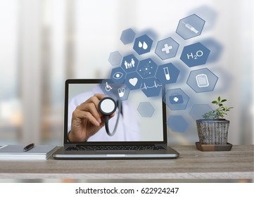 Doctor holding stethoscope with health icons flow from home or office laptop computer on virtual screen, medical technology, e health or online service, telemedicine concept