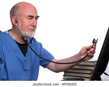 Doctor holding sthoscope to computer screen