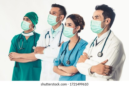 Doctor at hospital wearing medical mask to protect against coronavirus 2019 disease or COVID-19 global outbreak.