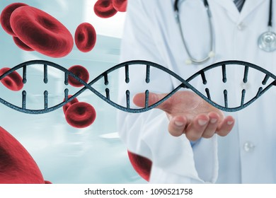 Doctor interacting with 3D DNA strand and cells