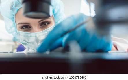 Doctor or lab technician adjusting needle to fertilize a human egg under the microscope