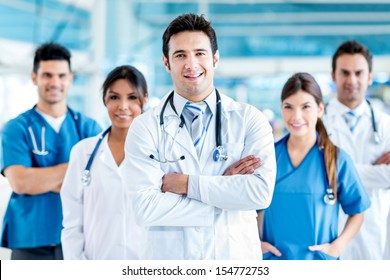 Doctor leading a medical team at the hospital