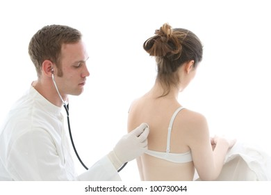 Doctor listening to the heart and lungs using a stethoscope on the back of a seated female patient wearing a bra