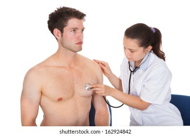 Doctor Listening Heartbeat Of Patient With Stethoscope