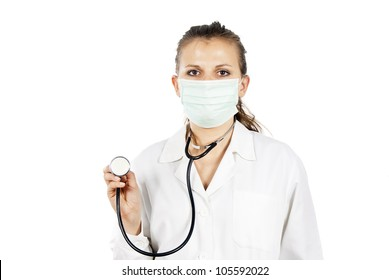 doctor listens with a stethoscope