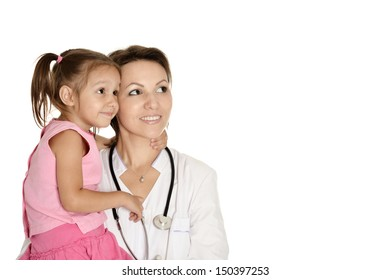 doctor with little girl on a white background