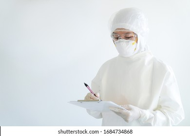 doctor looking for corona/covid-19 virus infected patient's laboratory report/PPE