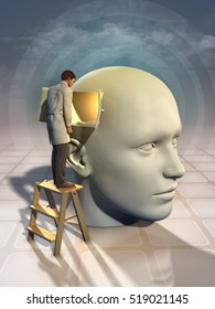 Doctor looking through a window on an human head. 3D illustration.