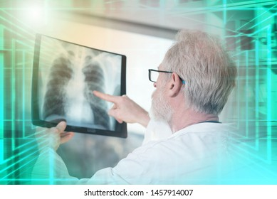 Doctor looking at x-ray report; multiple exposure