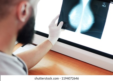 the doctor looks at a picture or mammogram-the result of an x-ray examination of the mammary glands for the prevention of breast cancer