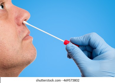 Doctor makes with a cotton swab a nasal swab