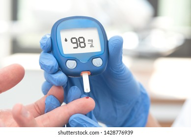 Doctor making blood sugar test in clinic. Blood sugar measurement in a medical clinic