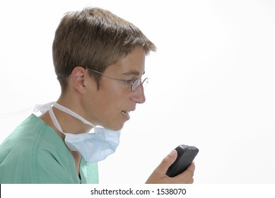 Doctor is making a notice
