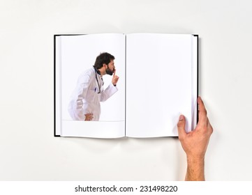 Doctor making silence gesture