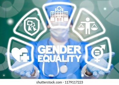 Doctor man offers a gender equality concept on a virtual interface. Medicine Gender Equality concept. Male Equals Female Medical Ethics Rules. Equal Emancipation Healthcare.