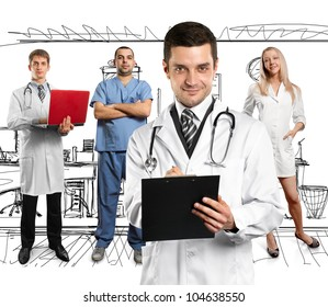 Doctor man with stethoscope and clipboard with his employee