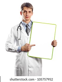 Doctor man with write board in his hands
