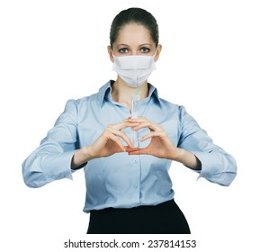 Doctor in a mask is ready to make an injection
