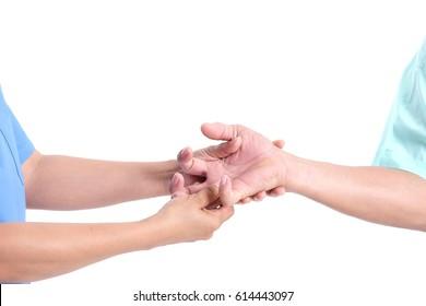 Doctor massage the patient's finger. Finger.Hand trigger finger lock concept healthy white background