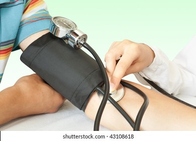 The doctor measures pressure in the patient