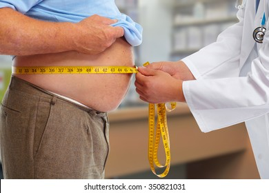 Doctor measuring obese man waist body fat. Obesity and weight loss.