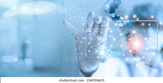 Doctor and medical assistant robot analysis and testing result of DNA on modern virtual interface, science and technology, innovative and future of medical healthcare in laboratory background.