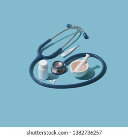 Doctor medical equipment and prescription drugs, medicine and healthcare