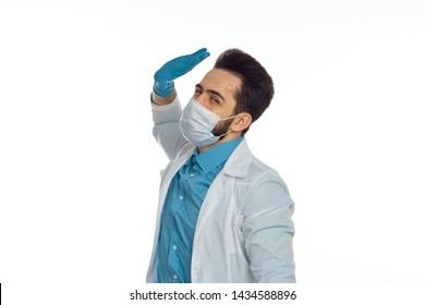 doctor in medical mask on an isolated background