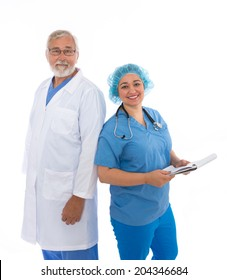 Doctor and Nurse looking at camera
