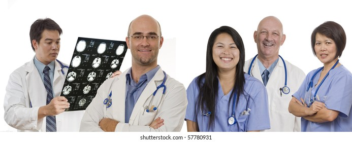 Doctor and Nurse standing with white background