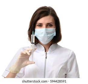 Doctor or nurse with syringe needle for flu injection vaccination concept against white background