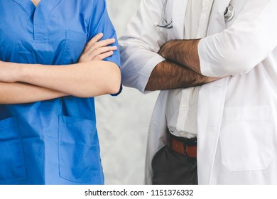 Doctor and nurse for teamwork in meeting on white background, Healthcare and medical concept