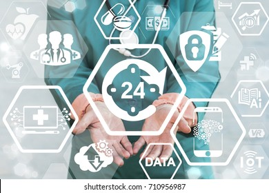 Doctor offers circular arrow 24 hour clock icon on a virtual digital screen interface. 24 Hours Medical Support concept. 24/7 Health Care Hospital Work.