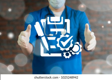 Doctor offers compliant checklist on a virtual interface. Compliance Medicine concept.