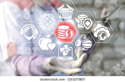 Doctor offers dollar coin icon on a virtual interface. Dollars Coins Modern Health Care Money concept. Medical Financial Blockchain System. Smart Hospital Finance.