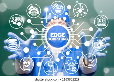 Doctor offers a edge computing on a virtual circuits medical informative panel. EDGE Computing Health Care Tech. Smart Modern Medicine Clinic Web Communication Data concept.