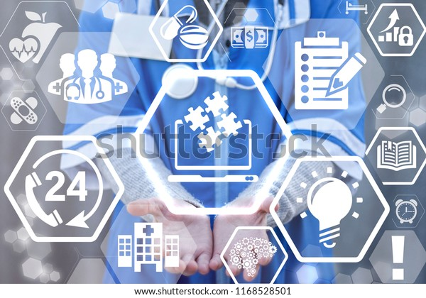 Doctor Offers Laptop Jigsaw Icon On Stock Photo (Edit Now