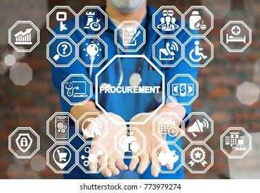 Doctor offers procurement text icon on a virtual interface. Procurement Healthcare concept. E-Procurement Medicine. Health Care Procure.