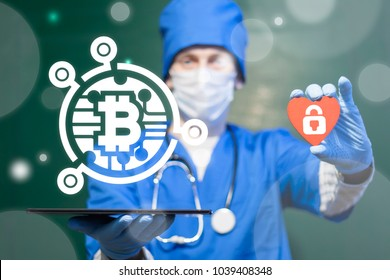 Doctor offers tablet computer with bitcoin microchip icon and holds red heart with padlock sign on a virtual interface. Bit Coin Cryptocurrency Healthcare Web Financial Mobile Computing Technology.