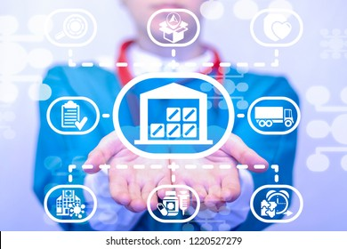 Doctor offers a warehouse icon on a virtual screen. Medicinal Pills Warehouse Logistics Medicine. Supply Chain Hospital concept. Delivery Healthcare Service. Medical Resources Planning.