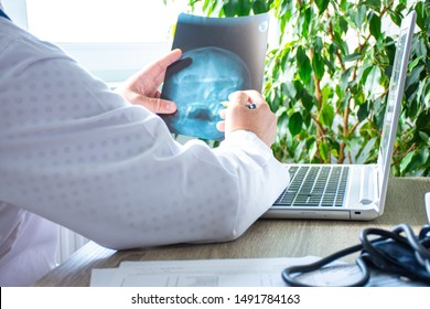 Doctor in office near computer considers and examines X-ray of human skull. Photo of process of diagnosis of disease or disorder of bone skull system, pathology of eye or ear, nose, cranial sinuses