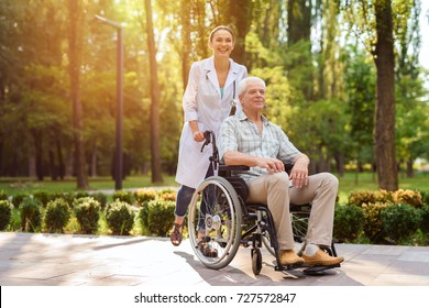 Doctor with an old man in a wheelchair walking in the green park