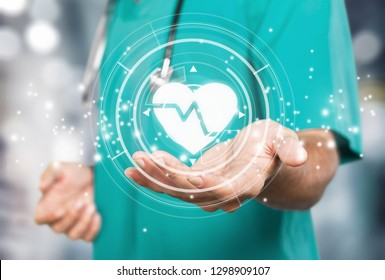 Doctor on blurred background holding heartbeat digital interface 3D rendering          - Image