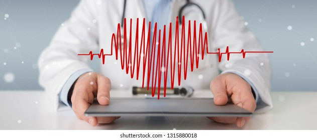 Doctor on blurred background holding heartbeat digital interface 3D rendering