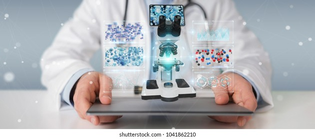 Doctor on blurred background using modern microscope with digital analysis 3D rendering