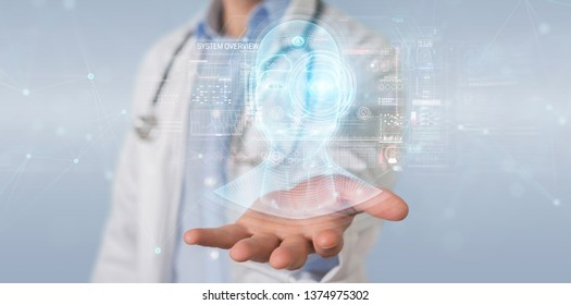 Doctor on blurred background using digital artificial intelligence head interface 3D rendering