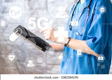 Doctor on tablet using 5G network interface 3D rendering background