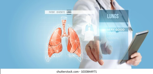 Doctor on the virtual screen, diagnose human lungs on a blue background.